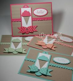Cute card with paper bow detail - video available on how she made it Hello Sweet Friend for Glitter Queens Scrapbook Cards, Scrapbooking, Birthday Gifts For Best Friend, Friendship Cards, Diy For Girls, Kids Cards, Cute Cards, Greeting Cards Handmade, Homemade Cards