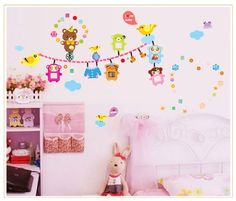 wall quote stickers -YYone Clothesline with Birds Bears and Clothes DIY Wall Decal for Nursery Wall Decor