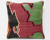 """Turkish cushion 18"""" sofa throw pillow kilim pillow cover decorative pillow case couch outdoor floor bohemian boho ethnic rustic accent 21810"""