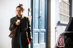 MFW: Cool hues with a gingham Prada skirt