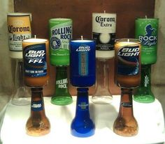 Beer bottle candles!!! Soak a piece of yarn in nail polish remover, tie around the bottle and set on fire. Take off the top of the bottle and put a candle in the bottom half!!! So cool!
