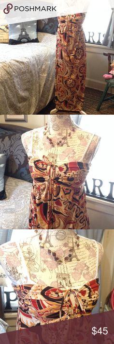 🆕 Pretty Paisley Mandela Pattern Maxi Dress❤️🍂 BRAND NEW! Beautiful Print in Rusty Red, Apricot Orange Gold, Mocha Tan, and Dark Brown on Cream Background. One Tie on Bust that can be Tied Various Ways. Has Hidden Back Loops to Even Tie that Way! Perfect for Vacation, Travel, Cruise, Wedding, etc. City Triangles Brand Size Small City Triangles Dresses