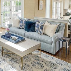 Faux Shagreen Coffee Table, Grey End Tables Blue Couch Living Room, Beach Living Room, Beige Living Rooms, Rugs In Living Room, Living Room Designs, Blue Rooms, Coastal Living, Living Spaces, Light Blue Couches