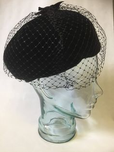 details/cloche/netting by WifinpoofVintage on Etsy Steampunk Hat, Steampunk Clothing, Unique Vintage, Vintage Black, 1940s Hats, Home Goods Decor, Hat Pins, Vintage Shops, My Etsy Shop