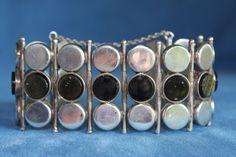 Vintage MCM Signed MAB Or MAP TAXCO Sterling Silver OBSIDIAN Bracelet Mexico #Link