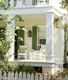 double white porches with green shutters. Outdoor Rooms, Outdoor Living, Outdoor Decor, Cottage Living, Cottage Style, Cottage Porch, Coastal Living, Coastal Style, Green Shutters