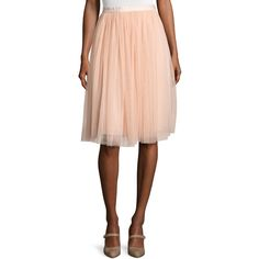Needle & Thread Satin-Band Tulle Midi Skirt ($130) ❤ liked on Polyvore featuring skirts, pink, midi skirt, gathered skirt, satin skirt, tulle skirts and pink skirt
