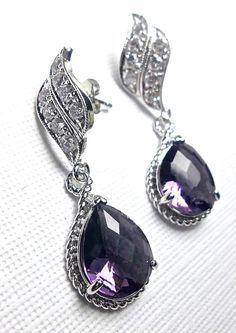 Bridal jewelry amethyst earrings Purple by QueenMeJewelryLLC, $27.99 .