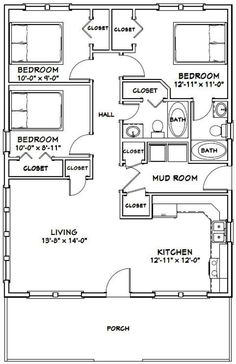 Build a shed on a weekend Plans 2836 House 1008 sq ft Excellent Floor Plans The Plan, How To Plan, 3 Bedroom Floor Plan, House Plans 3 Bedroom, Tiny House 3 Bedroom, Shed House Plans, Build House, 3 Bedroom Garage Apartment, 30x40 House Plans