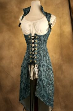 Blue Peacock Tailed Vixen corset by Damsel in this Dress
