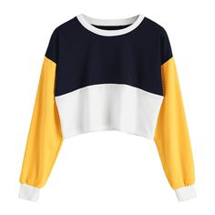 Contrast Crop Sweatshirt Purplishblue White S ($30) ❤ liked on Polyvore featuring tops, hoodies, sweatshirts, zaful, white top, white cropped sweatshirt, crop top, white crop top and cut-out crop tops