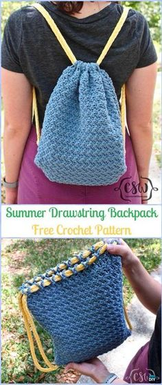 Crochet Summer Drawstring Backpack Free Pattern -#Crochet #Backpack Free Patterns Adult Version