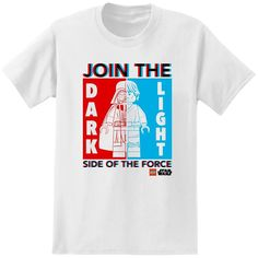 LEGO Star Wars Dark Side - Lights Side of the Force T-Shirt - Which side are you on? #darthvader #lukeskywalker #legostarwars #empire #jedi #rebel
