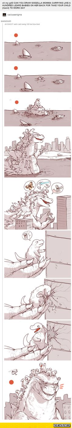 Funny pictures about Godzilla On Take Your Child To Work Day. Oh, and cool pics about Godzilla On Take Your Child To Work Day. Also, Godzilla On Take Your Child To Work Day photos. Bd Comics, Funny Comics, Funny Cute, The Funny, Kawaii, You Draw, Tumblr Posts, Comic Strips, Cute Animals