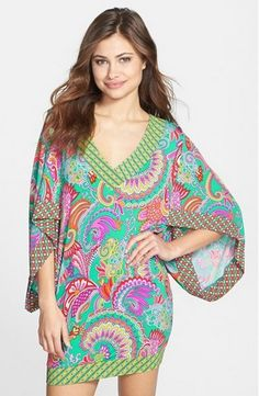 Trina Turk 'Folkloric' Cover-Up Tunic Swimsuit Cover Up Dress, Warm Weather Outfits, Trina Turk, Resort Wear, I Love Fashion, Fashion Advice, Beachwear, Bathing Suits, What To Wear