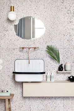 White terrazzo with black dots and copper fixtures for a a chic look. Terrazzo inspiration for home interiors and redecoration ideas. Art Deco Bathroom, Bathroom Interior, Modern Bathroom, Design Bathroom, Bathroom Ideas, Neutral Bathroom, Shower Ideas, Bathroom Quotes, Stone Bathroom