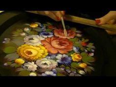 Жостовская роспись. Роскошный букет цветов на овальном подносе! Бликовка - YouTube