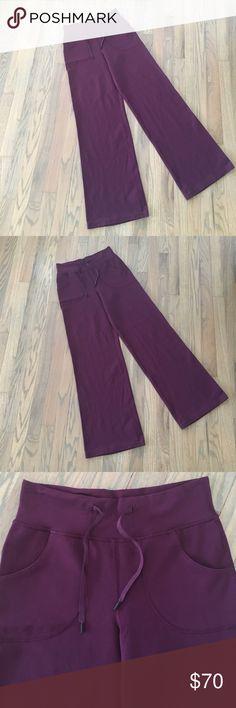"Lululemon burgundy wide leg sweats Barely used. No wear or pilling. Rich burgundy color. Inseam 31"".      81 lululemon athletica Pants Wide Leg"