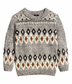 H&M Knit Sweater in Grey/Patterned $19.95