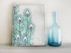 Distressed Peacock Feathers on Canvas - optional sizing. $26.00, via Etsy.