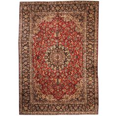 Herat Oriental Persian Hand-knotted 1960s Semi-antique Isfahan Red/ Navy Rug