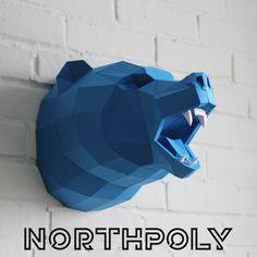Loud off the wall Bear Head Origami, Diy Junk Projects, Paper Mache Crafts, Paper Animals, Scrap Metal Art, Paper Artwork, Bear Art, Animal Heads, Paper Models