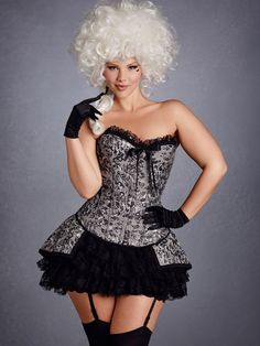 This corset set is the perfect foundation for creating a unique costume. It is designed with silver tapestry fabric and lace trim. The corset has a front busk closure, lace-up back, and a center front bow. The feminine skirt features layers of lace under Plus Size Corset, Plus Size Lingerie, Unique Costumes, Adult Costumes, Costume Ideas, Halloween Costumes, Lace Jeans, Hips And Curves, Plus Size Halloween