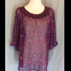 NWOT Apt. 9 Plum Sheer Peasant Blouse New without tags, no defects. Beautiful plum color with purple, pink and black paisley's design. Elastic smocking at neckline and 3 button closure. Short sleeves with elastic cuff and small ruffle. 100% polyester. Bust 25 inches flat. Length 26 inches. Apt. 9 Tops Blouses