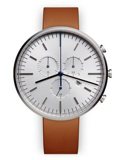 M42 Chronograph watch in polished steel / with tan nappa leather strap