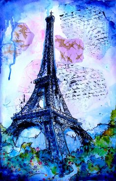 """""""I Love Paris"""" is a mixed media watercolor painting of the Eiffel Tower in Paris.  It sold after one day and I have prints available.  Go to https://www.facebook.com/pages/A-Brush-With-Color/110140605721486 and message me if you would like to order a print for your home."""