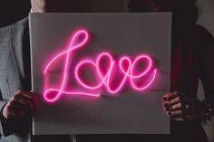 Make a bright DIY neon sign for you wedding decor (or any event, really!) using el wire.