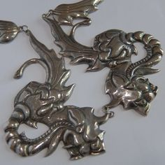 VINTAGE ART DECO OLD MEXICO STERLING SILVER REPOUSSE DRAGON NECKLACE #Unbranded #Statement