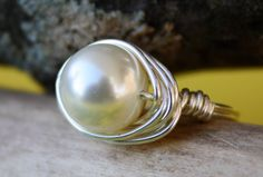 Size 6 June Birthstone Ring White Pearl by HoneysuckleJewelscom, $22.00