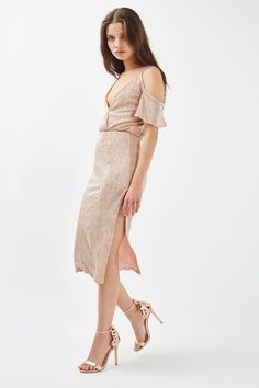 32a6e2b0ba22b1 Cold Shoulder Metallic Midi Dress by Rare