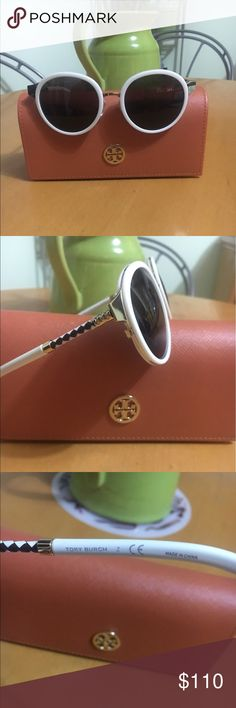 Tory Burch Cream Sunnies Gorgeous and Chic Tory Burch Sunnies. Leather detailing on arms. Like New Condition. With Tory Burch Case and dust-bag, which doubles as cleansing cloth. Tory Burch Accessories Sunglasses