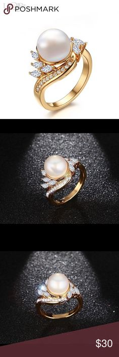 Imitation Pearl Fashion Crystal Gold Plated Ring Fashion AAA Cubic Zirconia Brass Wedding Rings Jewelry Big Imitation Pearl Women Finger Ring Queen Esther Etc Jewelry Rings