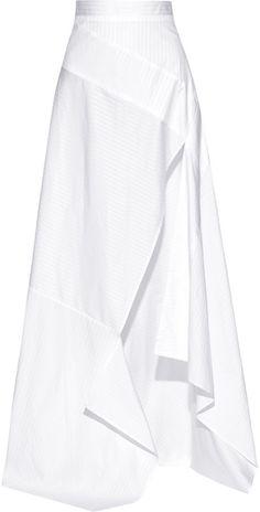 Split Striped Cotton-Poplin Maxi Skirt Michael Lo Sordo - Wearable White, Fashion #WhiteSpace #WearableWhite  h-a-l-e.com