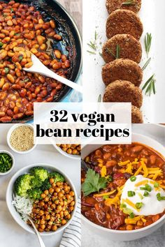 32 Vegan Recipes using beans! Pinto beans, black beans, chickpeas, and more types of beans incorporated into easy lunch, dinner, and breakfast ideas. Vegan Bean Recipes, Pinto Bean Recipes, Soup Recipes, Whole Food Recipes, Vegetarian Recipes, Healthy Recipes, Vegan Recipes With Black Beans, Pinto Beans Recipe Vegetarian, Easy Bean Recipes