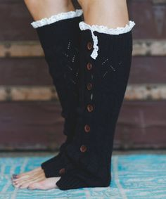 This Black Lace-Trim Full Button Leg Warmers is perfect! #zulilyfinds