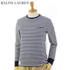 """【楽天市場】Ralph Lauren Men's """"CUSTOM FIT"""" Border l/s T-shirts US ポロ ラルフローレン メンズ ボーダーロングTシャツ:donuts (ドーナッツ)"""