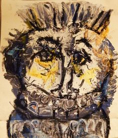 Smiling tokoloshe/ face by Andrew Orton Art Brut, Expressionism Acrylic on canvas