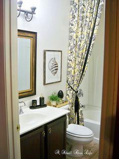 Hall Bathroom Makeover Reveal - Love the shower curtain. Mold In Bathroom, Hall Bathroom, Bathroom Ideas, Bathroom Staging, Bathroom Makeovers, Bathroom Designs, Baseboard Molding, Baseboards, Baseboard Ideas