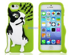 3D Dog Design Silicone Protective Case for iPhone 5S/5 (Green)