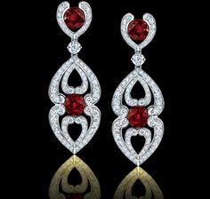 Spectacular! 4.33 carat ruby, diamond and platinum earrings. Regal Collections Garrard