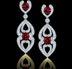 Spectacular! 4.33 carat ruby, diamond and platinum earrings. Regal Collections Garrard