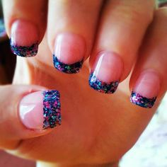 Pink And Blue Glitter Nails French tip blue and pink