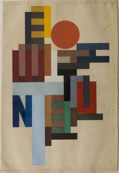 "hipinuff: "" Vasily Ermilov (Russian: 1894-1967), Composition with Letters, 1915. Gouache and pencil on paper, 54.6 x 36.5 cm """