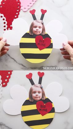 BEE MINE CRAFT This adorable Valentine bee craft comes with a free printable template. Add a message Bee Mine to the front or even make it a card by writing on the back! Preschool Valentine Crafts, Daycare Crafts, Valentines Day Activities, Classroom Crafts, Valentines For Kids, Funny Valentine, Printable Valentine, Valentines Crafts For Preschoolers, Baby Art Activities