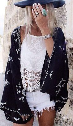Boho chic modern hippie cowboy style jacket over white crochet embellished top. FOLLOW this board > now http://www.pinterest.com/happygolicky/the-best-boho-chic-fashion-bohemian-jewelry-gypsy-/ for the BEST Bohemian fashion trends for 2015.