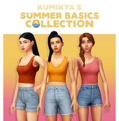 """""""KUMIKYA'S SUMMER BASICS COLLECTION """" it's suuuuper hot in australia already and i wanted to make more hot weather clothing. i originally made just the three ribbed tops, but i've always wanted to. Sims Four, Sims 4 Mm Cc, Sims 4 Cas, My Sims, Sims 2 University, Maxis, Sims 4 Dresses, Sims 4 Clothing, Sims 4 Cc Finds"""